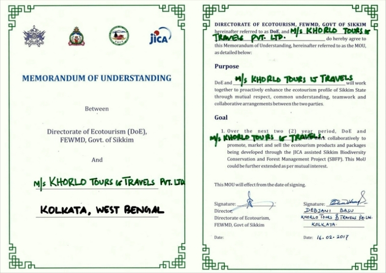 MOU between Khorlo Tours & Travels (P) Ltd and Directorate of Sikkim, Govt.of Sikkim